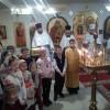 Детки воскресной школы поздравили прихожан с праздником Обрезания Господня и Василия Великого.