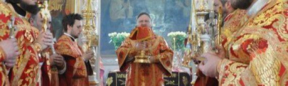 В четверг Светлой седмицы епископ Боярский Феодосий совершил Божественную Литургию в сослужении клириков Оболонского благочиния.