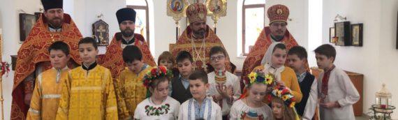 Пасхальное поздравление воспитаников воскресной школы.